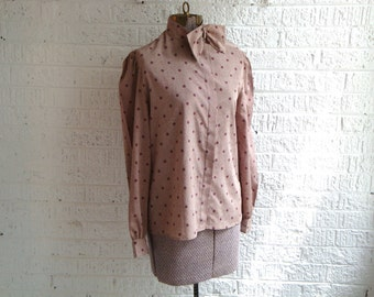 vintage 80s career image bow collar blouse