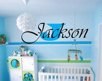 Baby Boy Nursery Wall Decal - Custom Name & Sizes