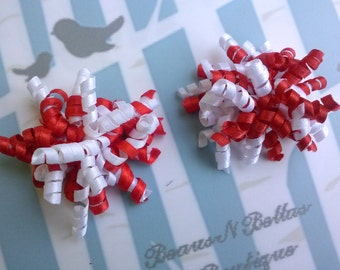 Mini Corkers - Red and White Corker Hair Clip - Valentines Corker Barrette - Christmas Mini Corker Clippie - Korker Hair Bow -  Set of 2