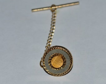 Silver and gold round tie tack, with Gold chain