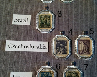 Vintage Postage Stamps - 1900 - 1940 - Pendant or tag