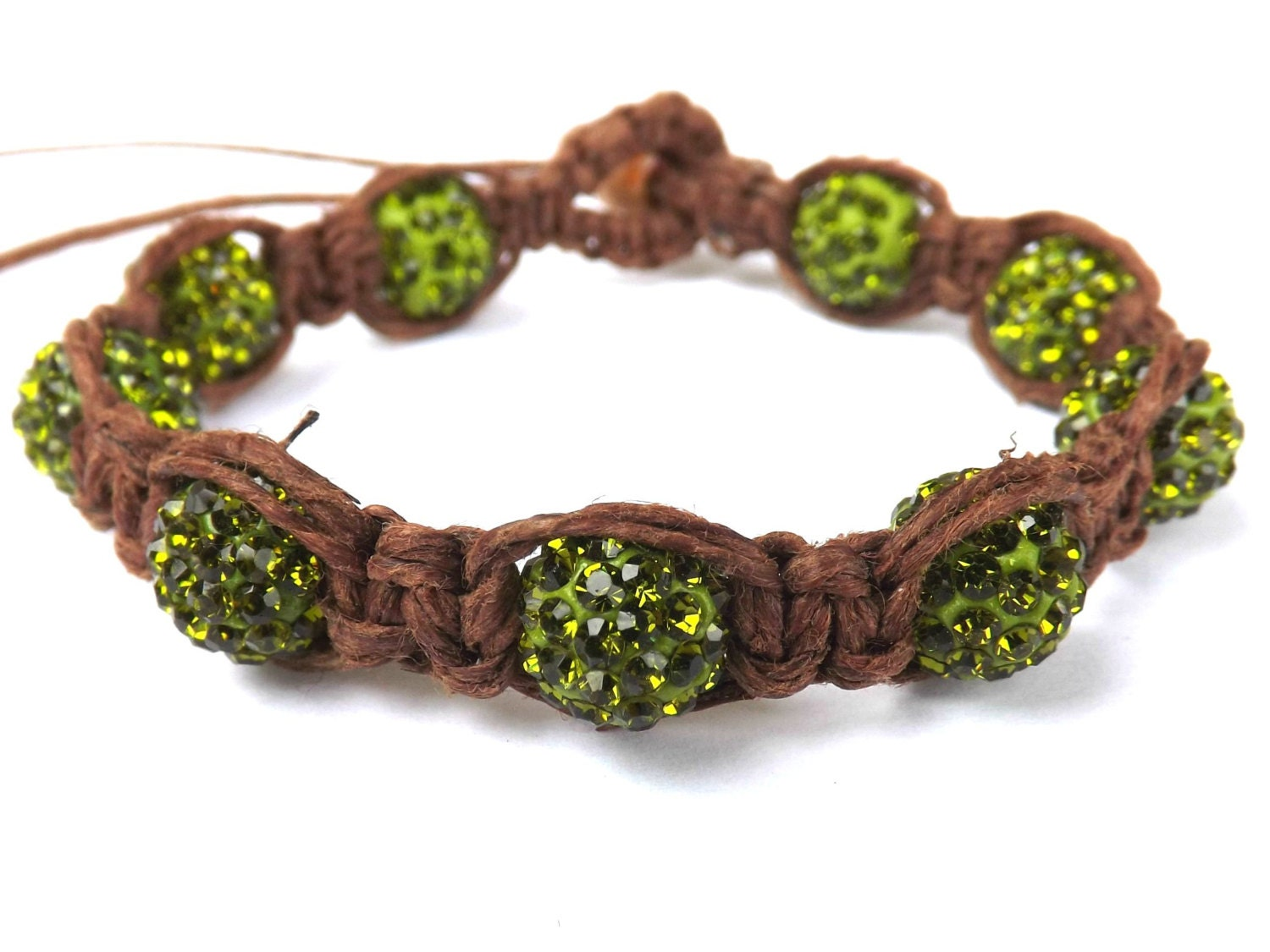 green beaded shamballa bracelet brown hemp by
