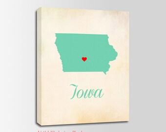Iowa Canvas Print, Iowa Vintage Print, Iowa Map, Personalized Art, Wall Decor, Vintage Map, Nursery Art, USA