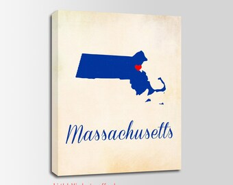 Massachusetts Canvas Print, Massachusetts Vintage Print, Massachusetts Map, Personalized Art, Wall Decor, Vintage Map, Nursery Art, USA