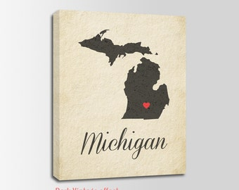 Michigan Canvas Print, Michigan Vintage Print, Michigan Map, Personalized Art, Wall Decor, Vintage Map, Nursery Art, USA