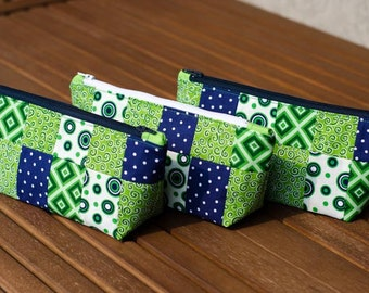Blow-out sale!! Fun pencil case or cosmetic bag in blue/green, fully lined zippered pouch to organize anything!