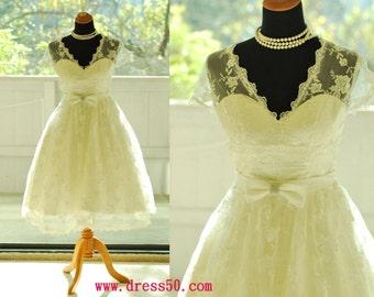 50shouse_ 50s inspired retro feel V neckline lace tea wedding dress with sash_ custom make