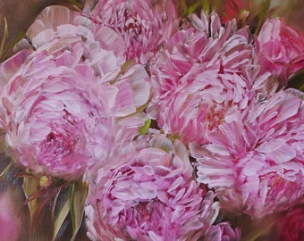 Oil Painting pink peonies
