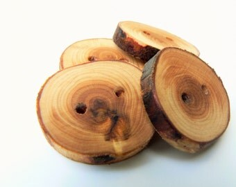 4 Juniper wood buttons, wood buttons for knitting, crochet, sewing and scrapbooking