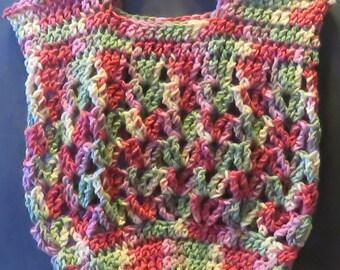 "Hand Crocheted Hobo Market Bag 13""x13"""