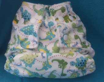 AIO diaper O / S PUL dinos with bamboo inserts