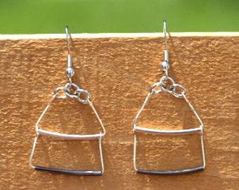 Silver and Dark Metal Bar Earrings