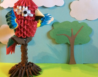 3D Origami Perched Macaw