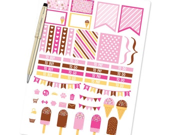 Planner Stickers Weekly Kit - Neopolitan Ice Cream