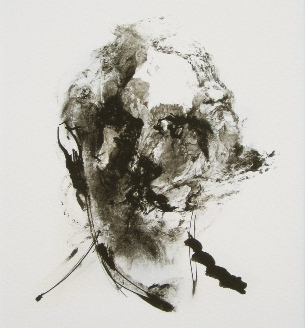 abstract portrait painting black and white ink painting