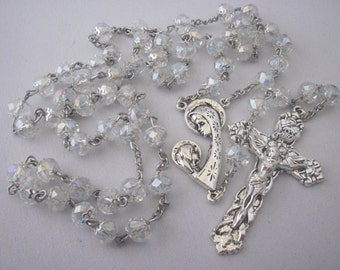New Mother, Mother Child, Clear Glass Crystal AB, Rosary 5, Five Decade Rosary, Religious Gift, Catholic, Spiritual, Rosary, Prayer Beads