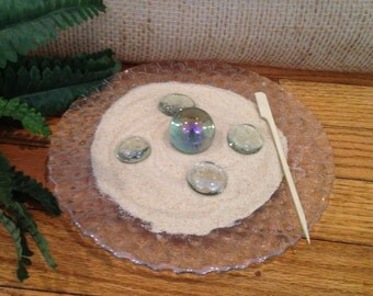 GLASS MARBLE Miniature Zen Garden