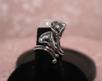 SALE: Vintage Silver ring; calla lily; hand made ring