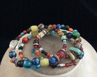 Vintage Colorful Glass Beaded Wrap Style Necklace Or Bracelet