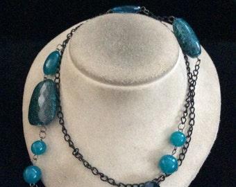 Vintage Long Deep Ocean Blue & Black Beaded Necklace