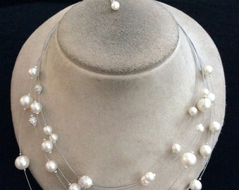 Vintage Multi Stranded Wired Faux Pearl & Rhinestone Beaded Necklace