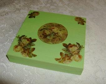 Wooden decoupaged jewelry box