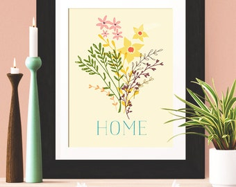 Home Décor Wall Art, 'Home' Poster, Motivation Poster, Motivation Print, Inspiration Print, Wall Art, Typography Quote