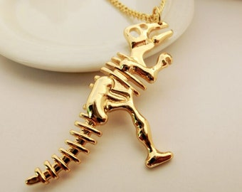 gold dinosaur necklace dino necklace dinosaur skull necklace