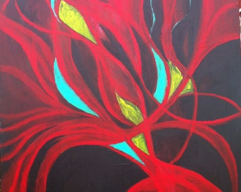 Original Abstract Acrylic Painting-Rosso Fiore/Red Flowers