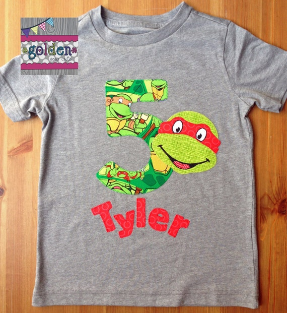 Teenage Mutant Ninja Turtle TMNT inspired Birthday Tee with Age and Name