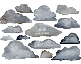 Buy 3 for 9 USD - Clouds Clipart watercolor, Handpainted watercolor,  digital clipart, cards, invitationsrt, grey, PNG