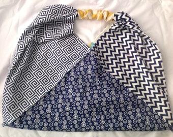 Reversible origami triangle handbag