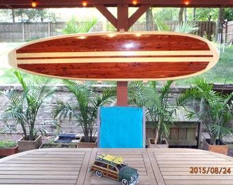 "8' 3"" decorative reclaimed red cedar/aspen hollow wood surfboard"