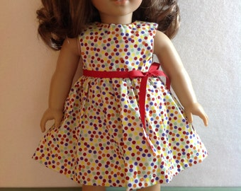 18 Inch Doll Clothes, Doll Clothes, Dress, Polka Dots
