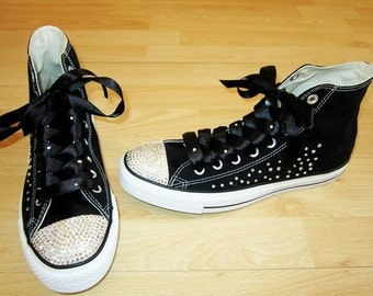 Black Scatter Crystal Converse with crystals on the sides and toes and ribbon laces