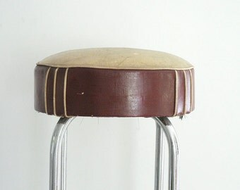 Red Leather Bar Stool by Royalchrome