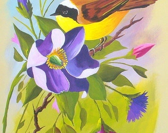 Acrylic Original Floral Painting with Yellow Breasted Bird Purple Pinks Nature Woodlands Wall Art Wedding Birthday Housewarming Gifts