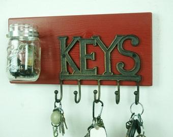 KEY Rack with hooks, pick your colors, Rustic decor, Kitchen decor, Cottage decor, Wall decor, Home decor, bathroom decor decor