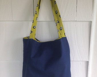 Whimsical blue and green reversible tote bag