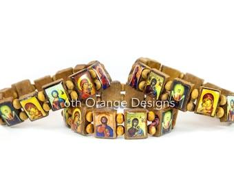 Handmade Wooden Saint Bracelet