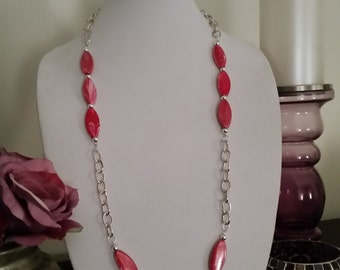 "Pink Swirl Design Beaded With Silver Plated Spacers and Silver Plated Chain Long 36.5"" Necklace"