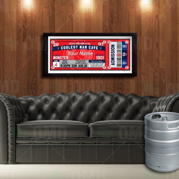 Classic Man Cave Tickets : Boston red sox ticket style poster man cave by sportsinvites
