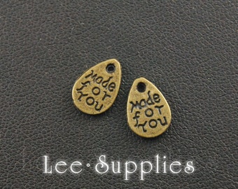 """50pcs Antique Bronze Alloy Teardrop Round Lettering """"Made For You"""" Charms Pendant A153"""
