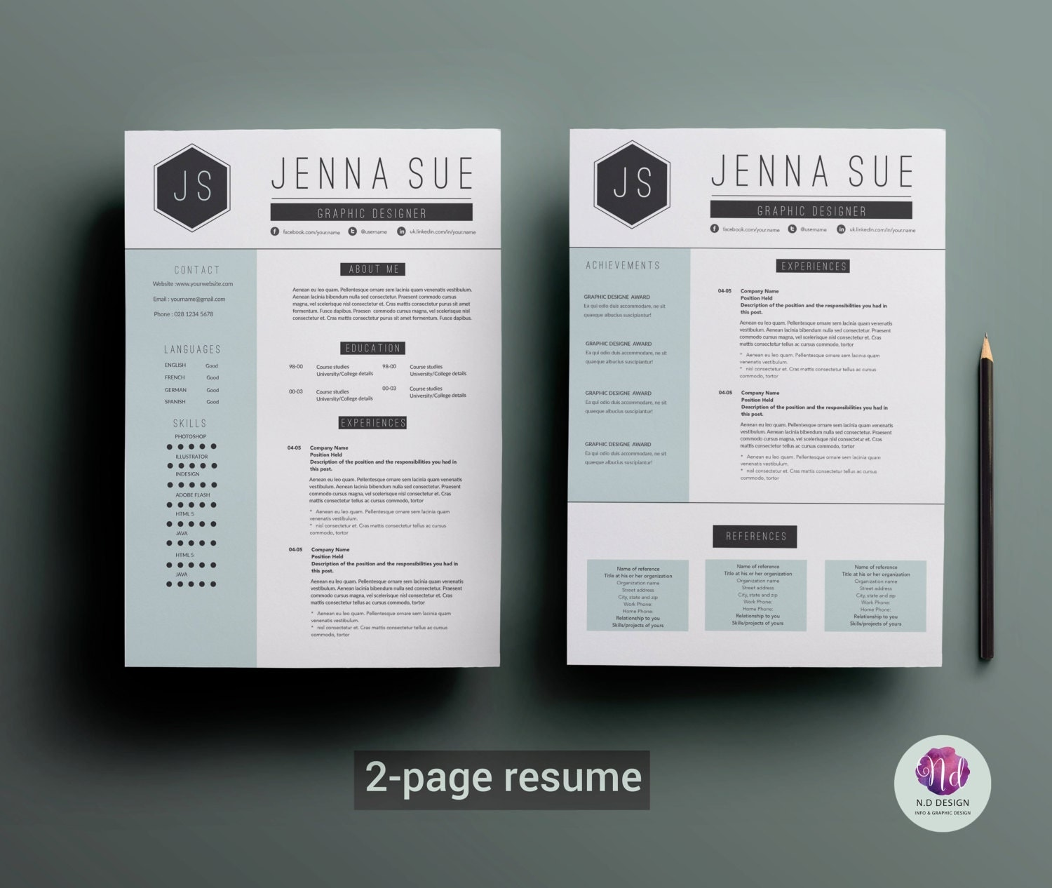modern 2 page resume template cover letter template