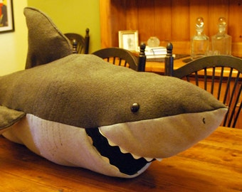 Stuffed Grey Great White Shark