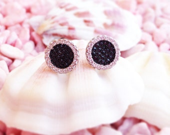 """Earrings """"Black & White"""" stones"""