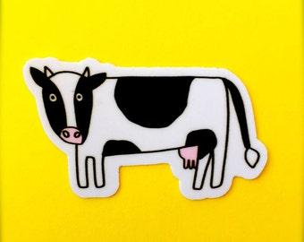 Cow Sticker - Cute Animal Stickers, Vegan/Kid's Stickers, For Laptops and Notebooks