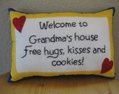 Pillow, Welcome To Grandma's House Pillow! Accent Pillow With Words Pillow, Hand Embroidery Pillow, Decorative Pillow, New Grandma Gift,