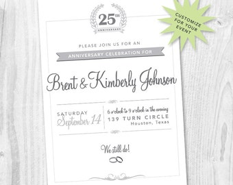 25th Wedding Anniversary Party Printable Invitation