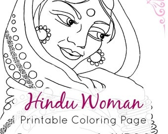 Coloring Book For Adults Indian African Fashion Portraits